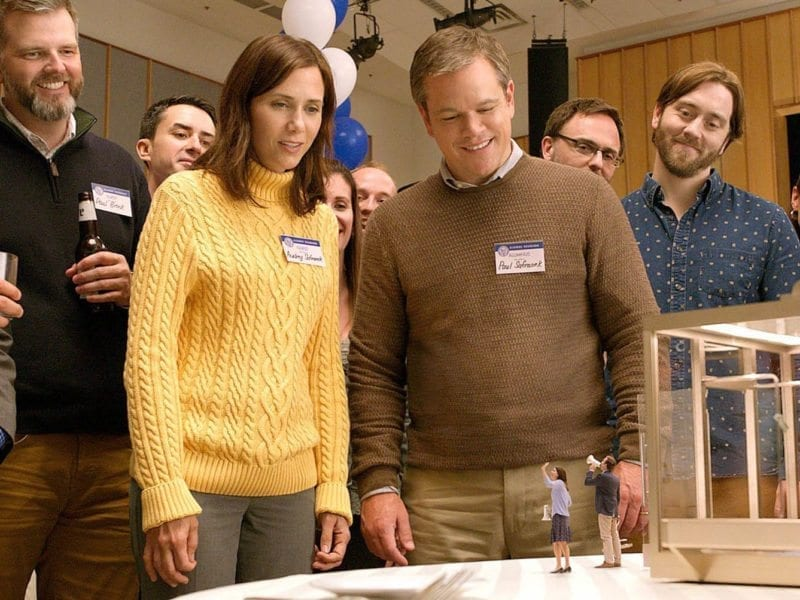 Scientists discover how to shrink humans to five inches tall as a solution to over-population in Alexander Payne's 'Downsizing'.
