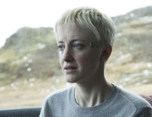 """An unnerving story, 'Black Mirror' S4E1 """"Crocodile"""" puts Andrea Riseborough at the center of a tale that weaves through time and memory."""