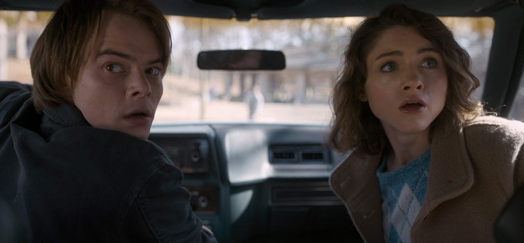 Charlie Heaton and Natalia Dyer in 'Stranger Things'