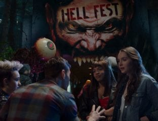 A masked serial killer turns a horror-themed amusement park into his own personal playground in 'Hell Fest'.